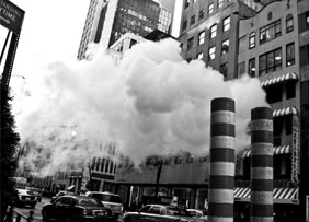 Downtown black and white with smoke