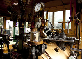 driver's compartment of a steam train